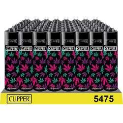 Clipper con hojas de marihuana rosa