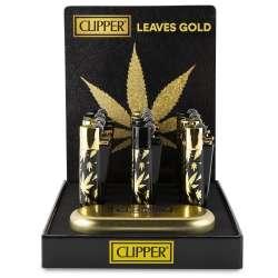Clipper metal hojas doradas...